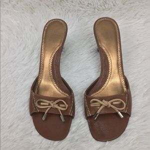Audrey Brooke Brown Leather Sandal Size 8